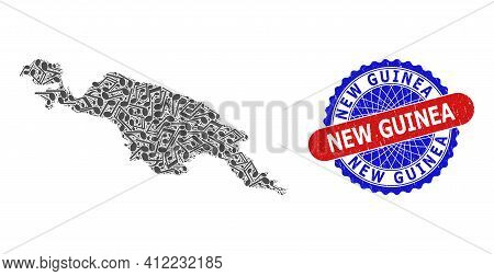 Music Notation Mosaic For New Guinea Map And Bicolor Scratched Stamp Badge