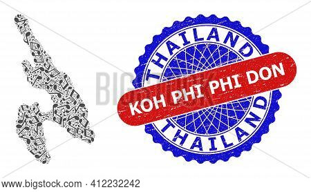 Musical Pattern For Koh Phi Don Map And Bicolor Textured Stamp