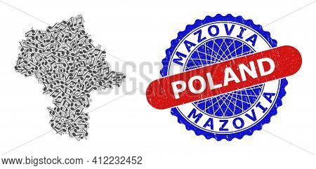 Music Notation Mosaic For Masovian Voivodeship Map And Bicolor Distress Seal