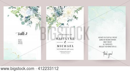 Silver Sage Green, Mint, Blue, White Flowers Vector Design Spring Cards