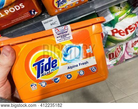 Belgrade, Serbia - March 4, 2021: Logo Of Tide Detergent On Pods  For Sale. Part Of Procter And Gamb