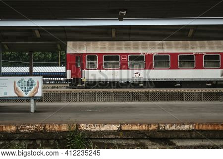 Kosice, Slovakia - June 12, 2014: Sleepers Couchette Cars Zssk Slovak Railways Ready For Departure F