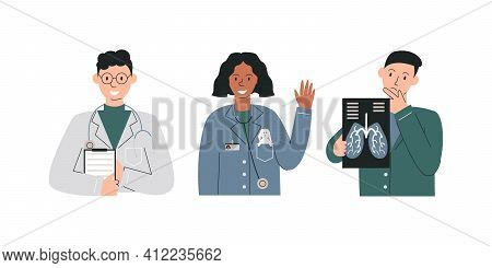 Group Of Different Specializations Doctors Isolated. Therapist Holding Examining List, Pediatrician