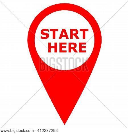 Start Here Red Icon Banner Design. Start Here Symbol. Banner Start Here Sign. Flat Style.