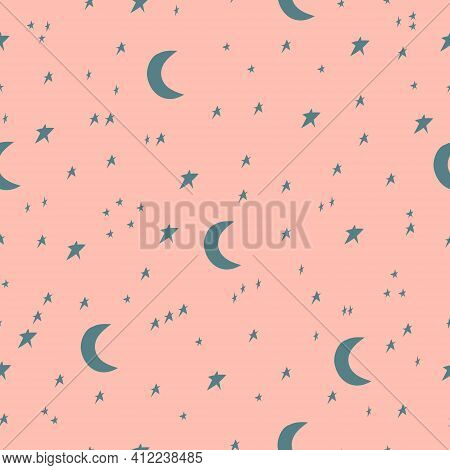 Seamless Pattern With Stars And Moon. Irregular Hand Drawn Simple Starry Sky Print For Fabric, Texti