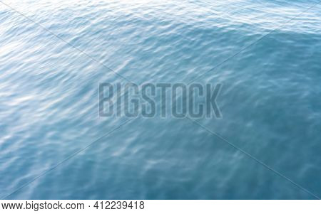 Blue Sea Waves Soft Surface Abstract Background. Natural Pattern. Top View