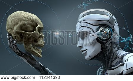 Human Skull In The Darkness Skull Head X-ray Technology Machine Human Head Medial Steel Metallic Rob