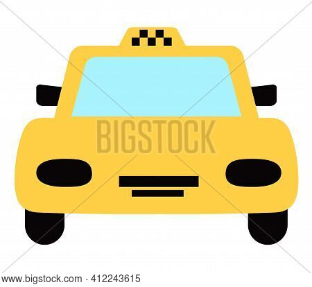 Taxi Icon Isolated On White Background. Front View