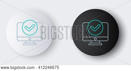 Line Computer Monitor Screen Icon Isolated On Grey Background. Electronic Device. Front View. Colorf