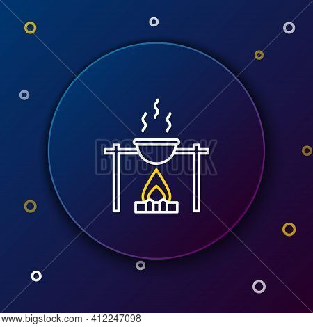 Line Campfire And Pot Icon Isolated On Blue Background. Fire Camping Cooking In Cauldron On Firewood
