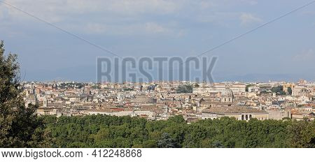 Scenic View Of Rome  With Its Domes And Bell Towers View From Janiculan Hill