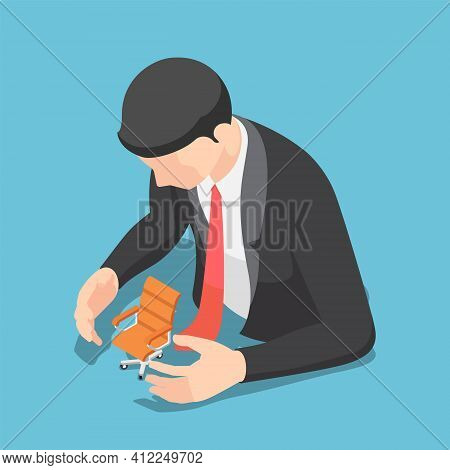 Flat 3d Isometric Businessman Protecting Office Chair. Job Security And Protection Concept.