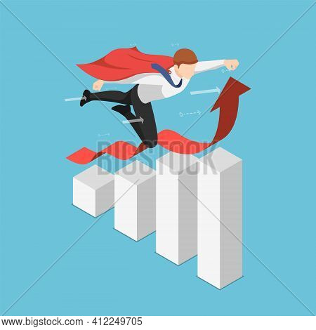 Flat 3d Isometric Super Businessman Flying Over Growing Business Graph. Leadership And Successful Co