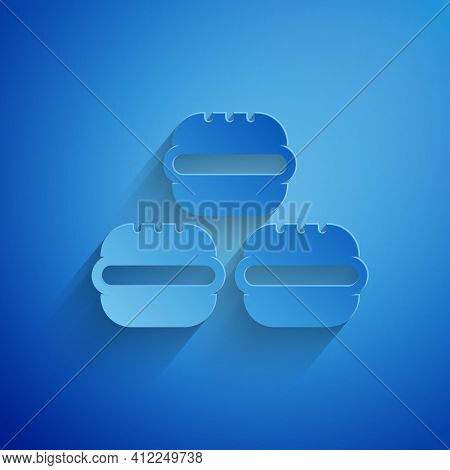 Paper Cut Macaron Cookie Icon Isolated On Blue Background. Macaroon Sweet Bakery. Paper Art Style. V