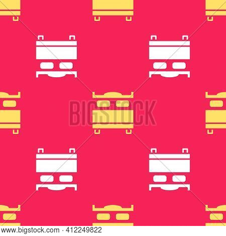 Yellow Bedroom Icon Isolated Seamless Pattern On Red Background. Wedding, Love, Marriage Symbol. Bed