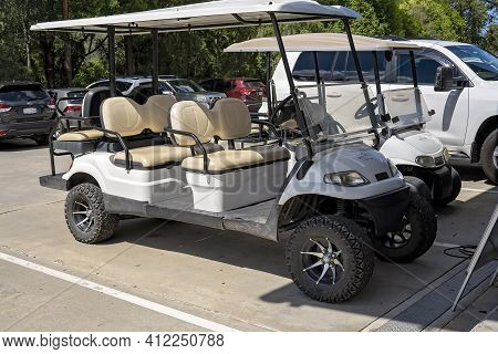Brisbane, Queensland, Australia - March 2021: Six Seater Buggy For Transporting Guests At Tourist Hi
