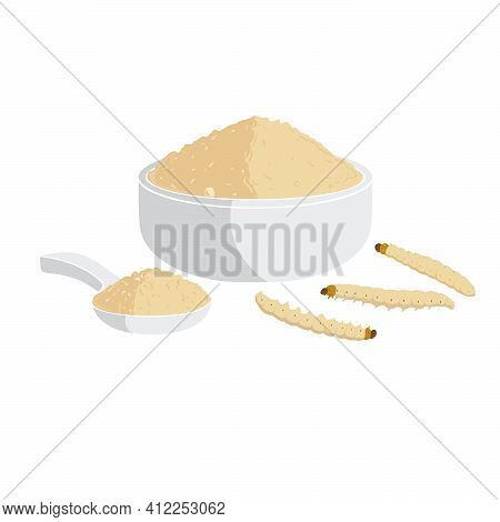 Bamboo Worm Or Bamboo Caterpillar Powder. Insects As Food Edible Made Of Cooked Insect Meat In Bowl