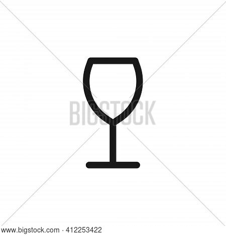 Wine Glass Vector Icon. Cocktail Drink Symbol. Bar And Restaurant Wineglass Sign. Package Labe Logo.