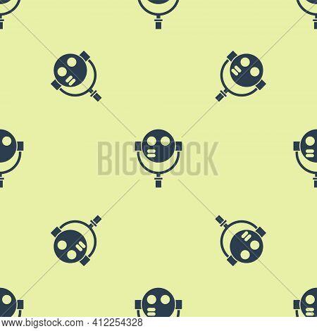 Blue Tourist Binoculars Icon Isolated Seamless Pattern On Yellow Background. Binoculars Telescope On