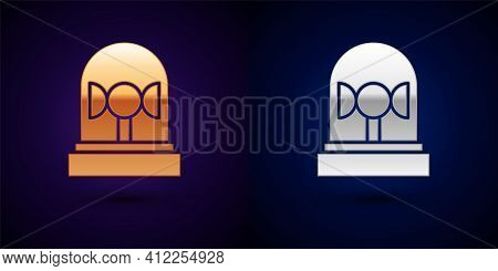 Gold And Silver Flasher Siren Icon Isolated On Black Background. Emergency Flashing Siren. Vector