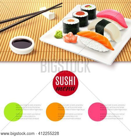 Sushi Roll Realistic And Bamboo Mat With Chopsticks And Soy Sauce Japanese Menu Background Vector Il
