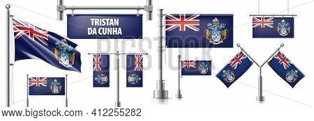 Vector Set Of The National Flag Of Tristan Da Cunha In Various Creative Designs