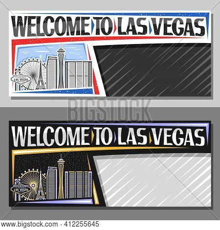 Vector Layouts For Las Vegas With Copy Space, Decorative Voucher With Line Illustration Of American