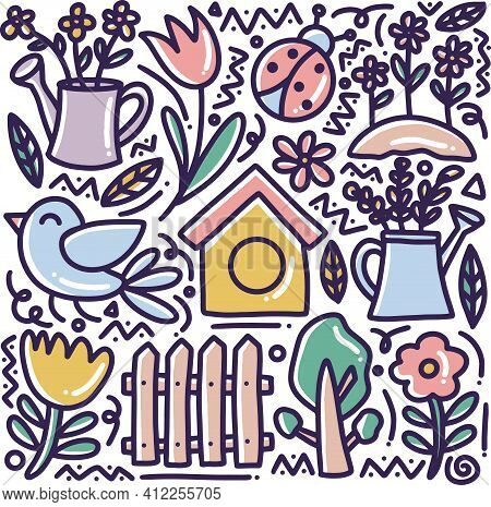Doodle Set Of Hand Drawn Spring Time With Icons And Design Elements