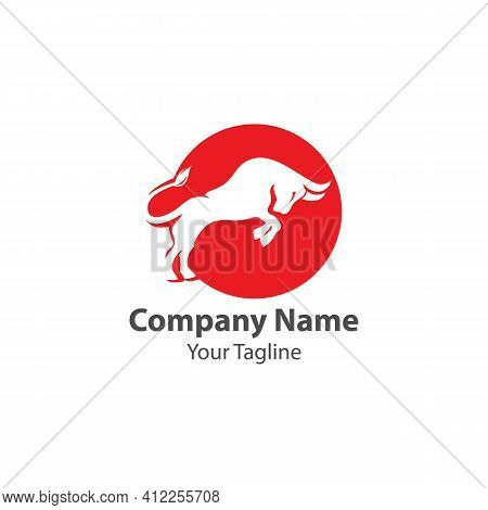 Bull Taurus Bison Buffalo Logo Design Vector Template. Beef Meat Steak House Restaurant Logotype Con