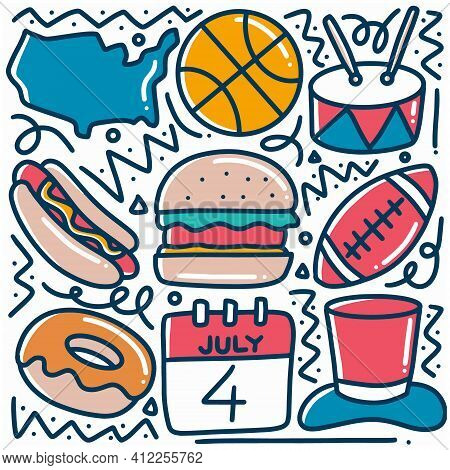 Hand Drawn Sport Games Menu Doodle Set With Icons And Design Elements