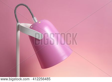 Modern Table Lamp On Pink Background Flat Lay. Lighting, Lamp, Light, Interior Decor, Electricity. C