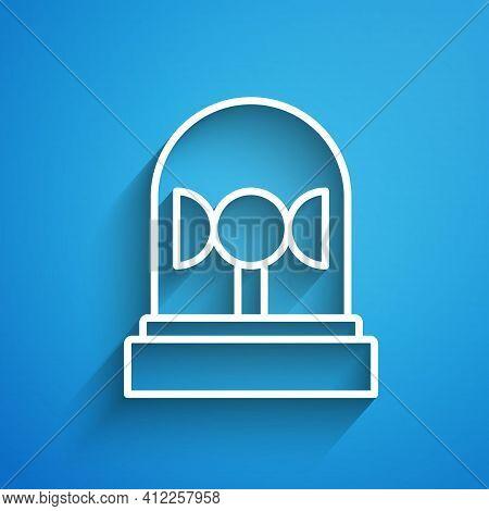 White Line Flasher Siren Icon Isolated On Blue Background. Emergency Flashing Siren. Long Shadow. Ve
