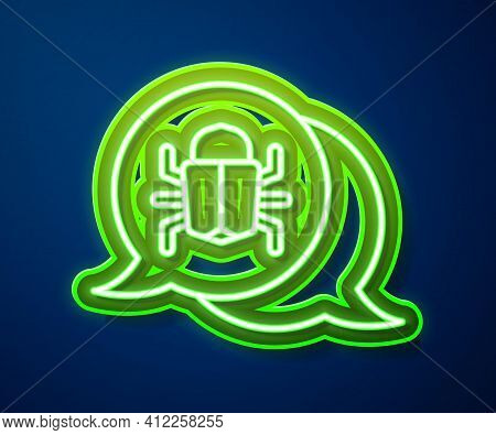 Glowing Neon Line System Bug Concept Icon Isolated On Blue Background. Code Bug Concept. Bug In The
