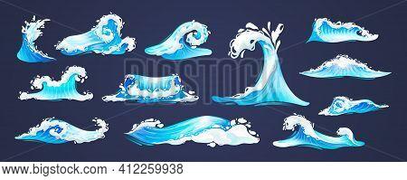 Sea Ocean Wave Set. Blue Water Ocean Waves, Marine Surf Wave, Ripples Tides Sea Storm, Tsunami, Tida