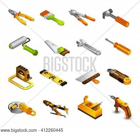 Tools Isometric Icons Set With 3d Saw Paint Roller Pliers Isolated Vector Illustration
