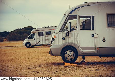 Camper Leveling Support Hydraulic Steady Leg In Use. Caravaning And Accessories For Motor Home.