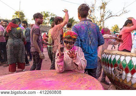 March 2021 Vrindavan,uttar Pradesh ,india. People Celebrating Holi At Barsana On Holi Festival With