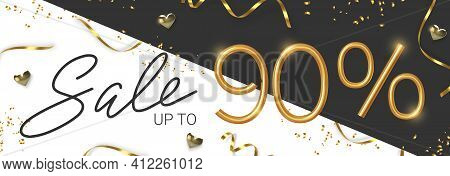 90 Off Discount Promotion Sale Made Of Realistic 3d Gold Number With Sepantine And Tinsel. Vector