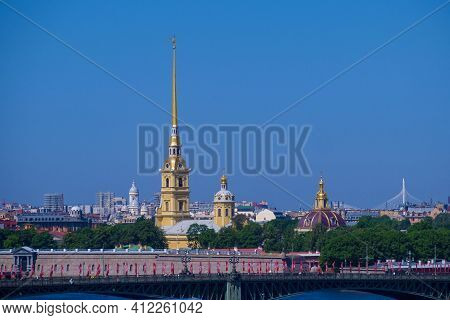 Russia, Saint Petersburg - 06.09.20: Peter-pavel's Fortress On Rabbit Island In Saint Petersburg, Ru