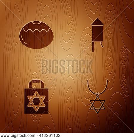 Set Star Of David Necklace On Chain, Jewish Sweet Bakery, Shopping Bag With Star David And Firework