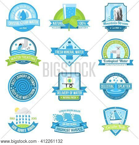 Clear Fresh High Quality Pure Water Emblem Set Isolated Vector Illustration