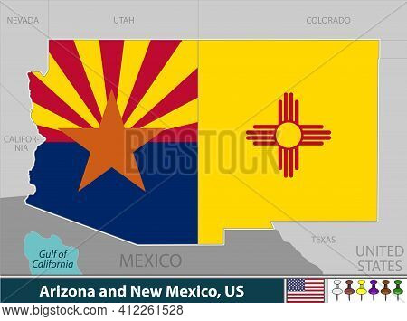 Vector Of Arizona And New Mexico States Of United States With Their Flags Inside Borders.