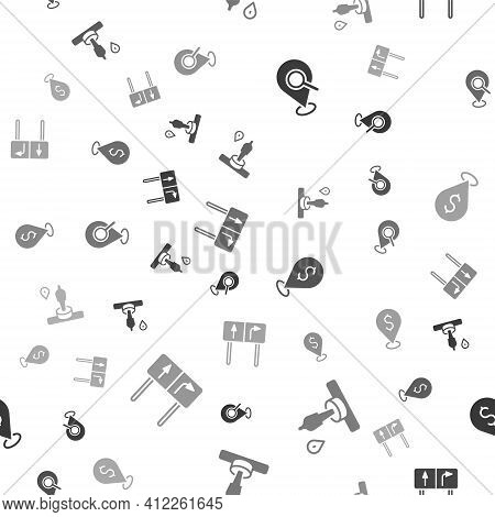 Set Search Location, Location And Monument, Cash And Road Traffic Sign On Seamless Pattern. Vector
