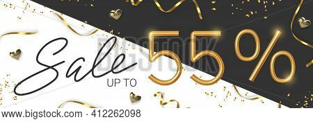 55 Off Discount Promotion Sale Made Of Realistic 3d Gold Number With Sepantine And Tinsel. Vector