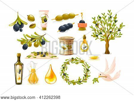Organic Olive Products Set. Black And Green Olives, Glass Bottle Decanter Of Olive Oil, Tree Branche
