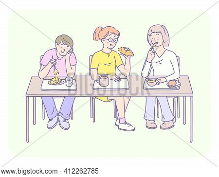 Students Lunch Time. Group Of Young People Eating Fast Food, Noodles, Croissant, Drink Milk And Coff