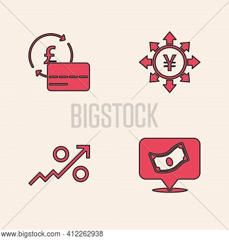 Set Stacks Paper Money Cash, Credit Card, Coin With Yen And Percent Up Arrow Icon. Vector