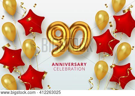 90 Anniversary Celebration Number In The Form Star Of Golden And Red Balloons. Realistic 3d Gold Num