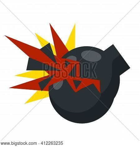 Flat Black Round Bomb With Rope Wick Isolated On White. Army Weapon And Ammunition Armament. Explosi
