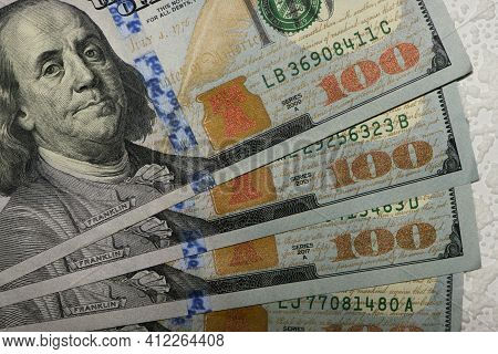 Dollars Banknotes, Close-up. U.s. Dollars. 100 American Dollars. Paper Money, Currency, Cash. Concep